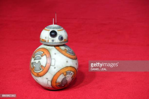 Robot BB8 poses on the red carpet for the European Premiere of Star Wars The Last Jedi at the Royal Albert Hall in London on December 12 2017 / AFP...