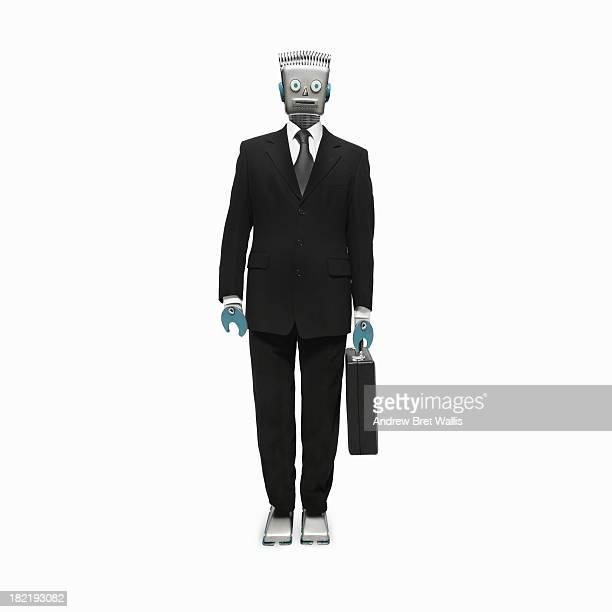 Robot businessman stands holding a briefcase