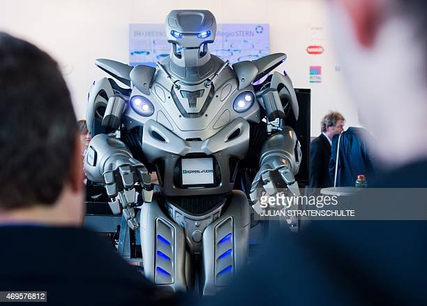 A robot by German sensors and electronics company Pepperl Fuchs is seen at the fair grounds of the Hannover Messe industrial trade fair in Hanover...