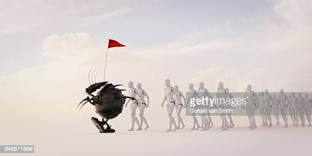 Robot carrying red flag before line of marching robots. Red flag law concept for AI.