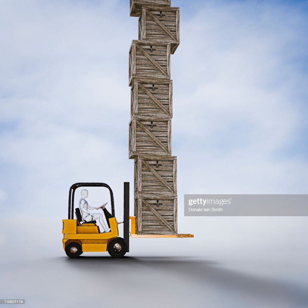 Robot Driving Forklift Carrying Tall Pile Of Wooden Crates Stock