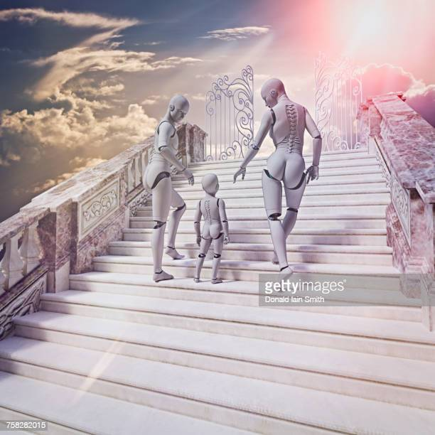 Robot family on stairway to heaven