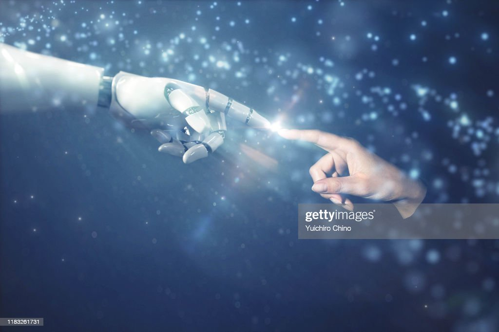 Robot finger touching to human finger with emotional scene : Stockfoto