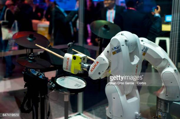 A robot from Kuka and Huawei playing the drums during the Mobile World Congress on March 2 2017 in Barcelona Spain