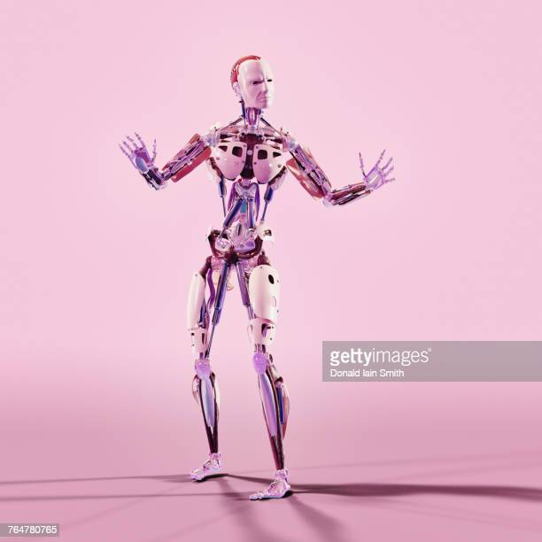 robot gesturing with attitude - android stock pictures, royalty-free photos & images