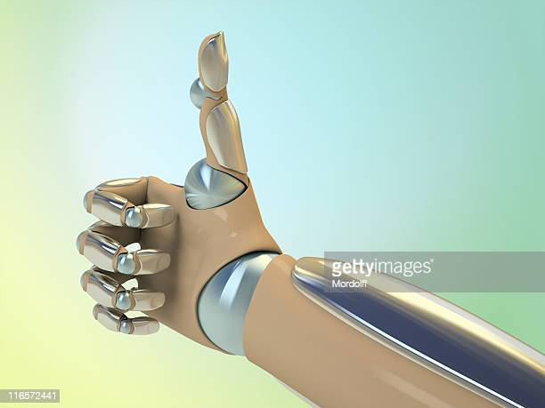 Robot hand shows thumb up