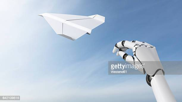 Robot hand throwing paper plane, 3D Rendering