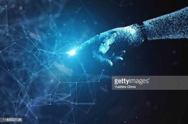 robot hand touching to network data - big data health stock pictures, royalty-free photos & images
