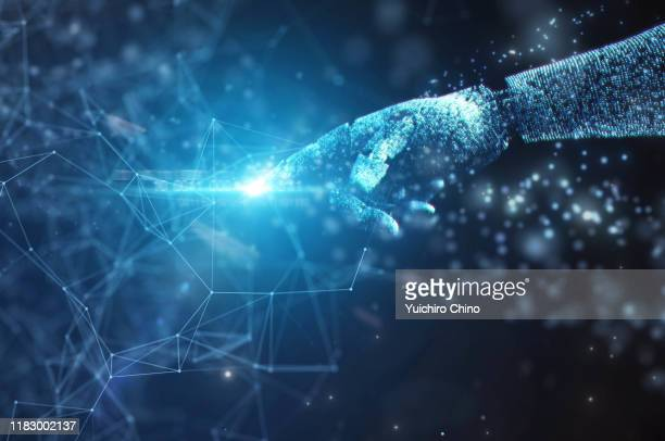 robot hand touching to network data - ai stock pictures, royalty-free photos & images