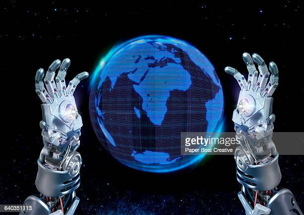 Robot hands projecting a hologram of the globe
