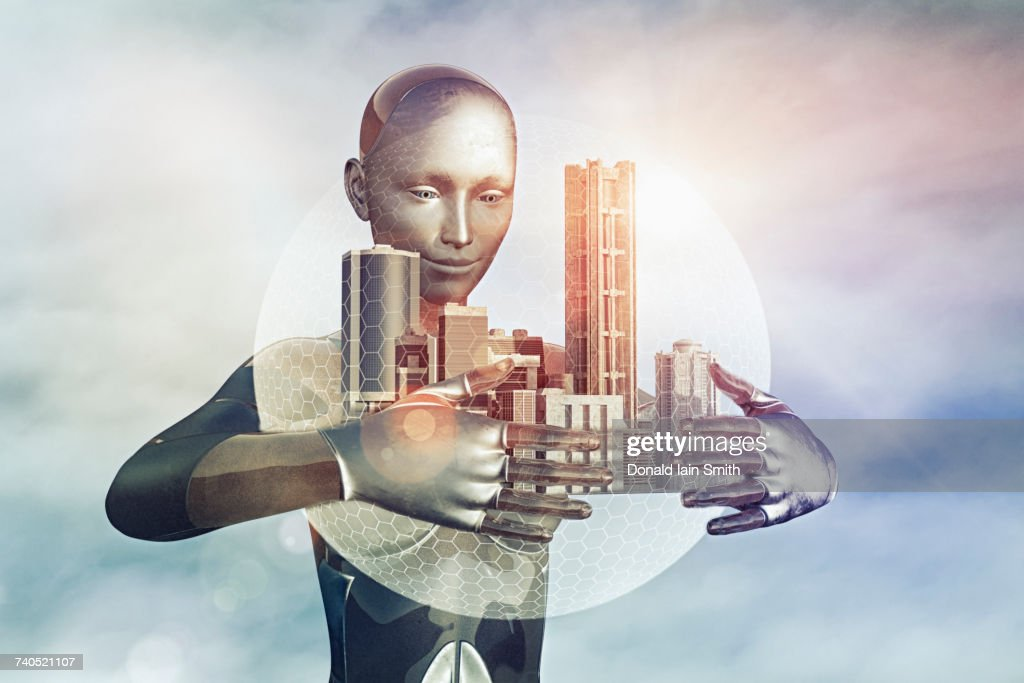 Robot holding city in sphere : Stock Photo