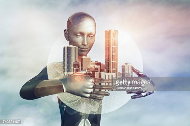 Robot holding city in sphere