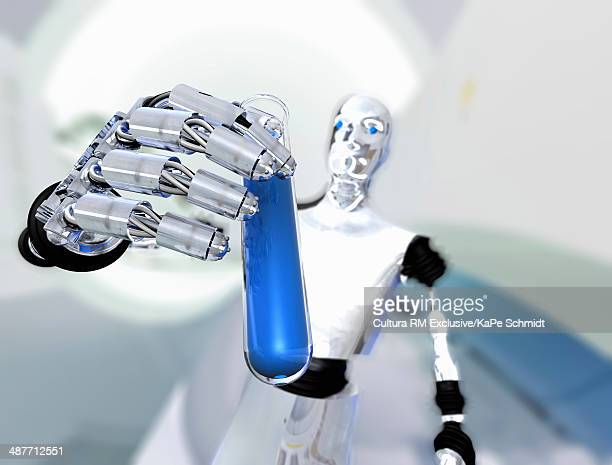 Robot holding up test tube with blue liquid