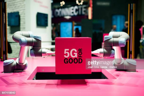 A robot in the stand of Deutsche Telecom during the Mobile World Congress on March 2 2017 in Barcelona Spain