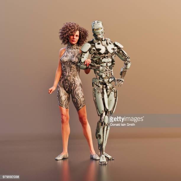 robot intimacy: human female and robot together - digital desire fotos stock-fotos und bilder