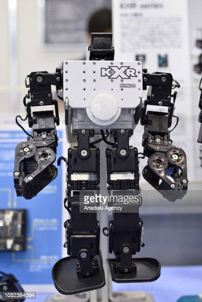 A robot is displayed at the Japan Robot Week 2018 at Tokyo Big Sight Japan on October 17 2018