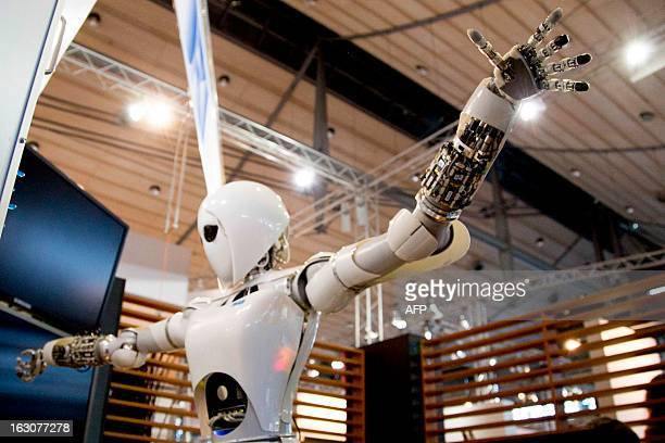 Robot is seen at the booth of the project SemProm as preparations are under way for the CeBIT high-tech fair on March 4, 2013 in Hanover, central...