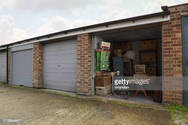robot made of pieces inside a garage - old fashioned stock pictures, royalty-free photos & images