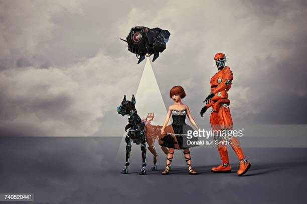 Robot man and dog with drone protecting girl