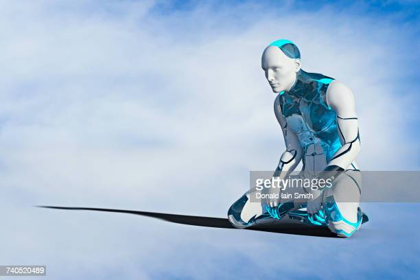 robot man kneeling on ground - android stock pictures, royalty-free photos & images