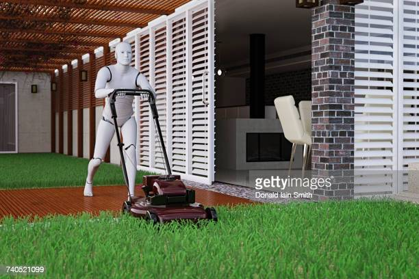 Robot man mowing grass with lawnmower