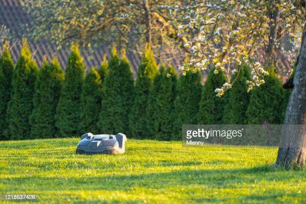 robot mower automatic grass mowing in natural garden - emerald green stock pictures, royalty-free photos & images