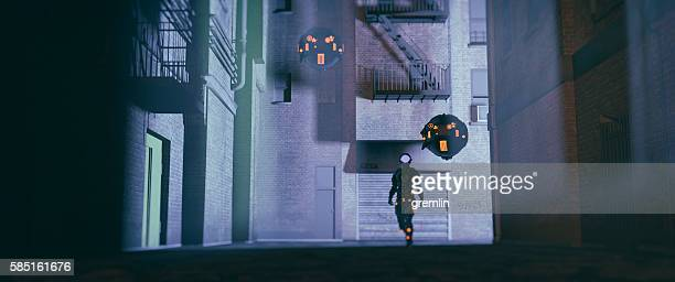 robot police with drones patrolling the streets at night - military drones stock photos and pictures