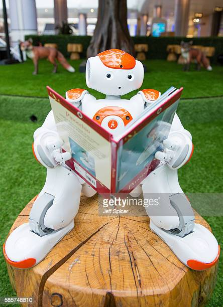 A robot poses as Westfield prepare to host an interactive artificial intelligence storytelling event for kids at a popup indoor park on August 10 at...