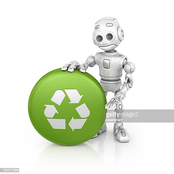 Roboter präsentiert recycling push button