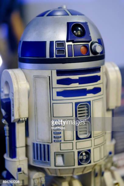 A robot R2D2 R2 series astromech droid featuring in the Star Wars movies is exhibited at the 'Star Wars Exhibition' at Telefonica flagship store on...
