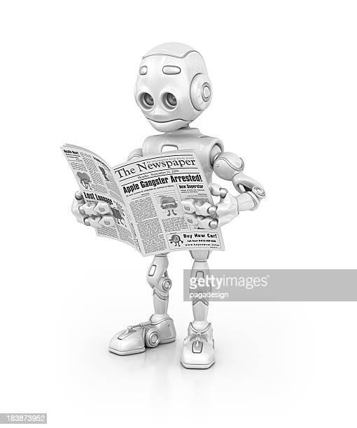 robot reading newspaper