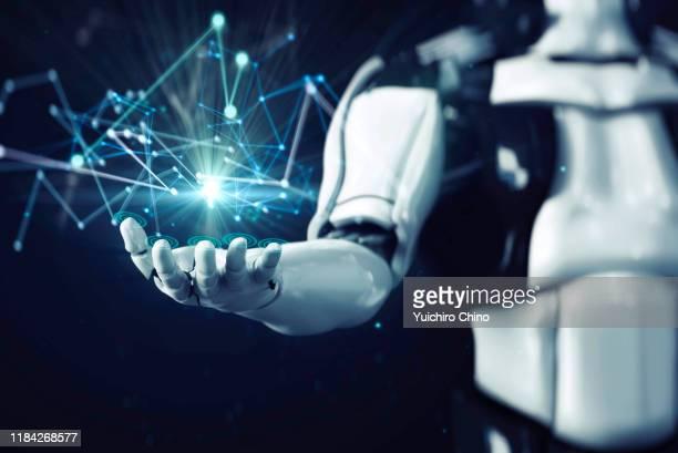 robot showing network data connection - 人工知能 ストックフォトと画像