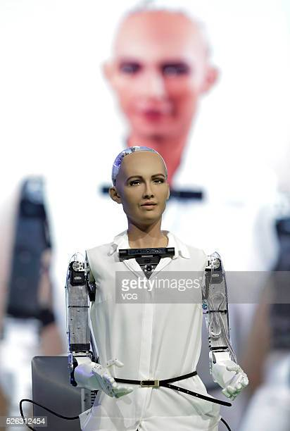 Robot Sophia an ultrarealistic female humanoid robot is released during the 2016 Global Mobile Internet Conference on April 29 2016 in Beijing China...