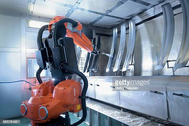 Robot spray painting automotive parts in spray paint factory
