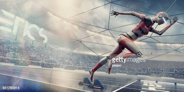 Robot Sprinter Bursting From Starting Blocks in Futuristic Floodlit Arena
