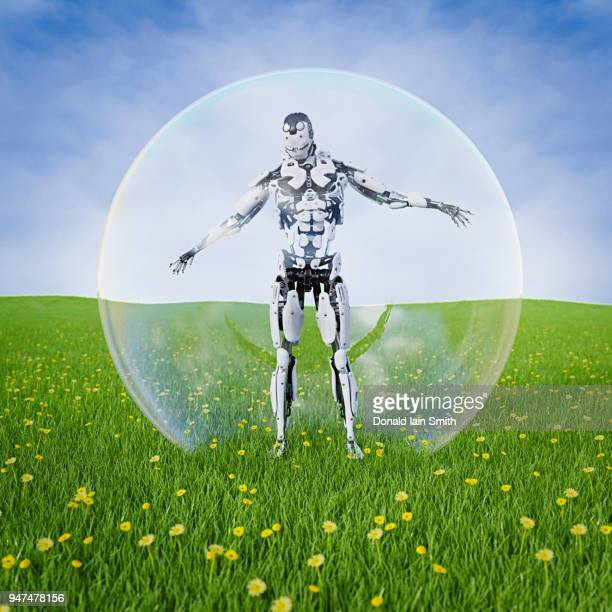 Robot standing inside transparent sphere in meadow with flowers