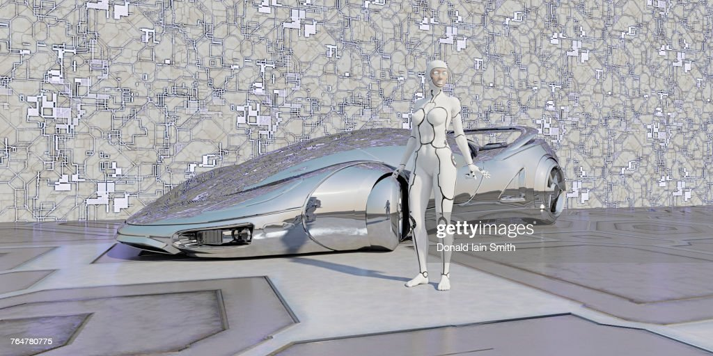 Robot standing near shiny futuristic car : Stock Photo