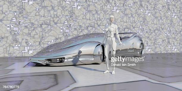 Robot standing near shiny futuristic car