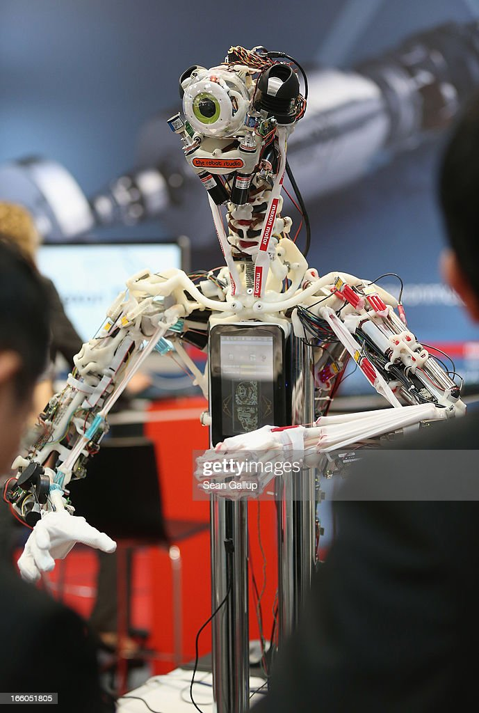 A robot stands on display at the Maxon Motor stand at the Hannover Messe 2013 industrial trade fair on April 8, 2013 in Hanover, Germany. The Hannover Messe is the world's largest industrial trade fair and will be open until April 12.