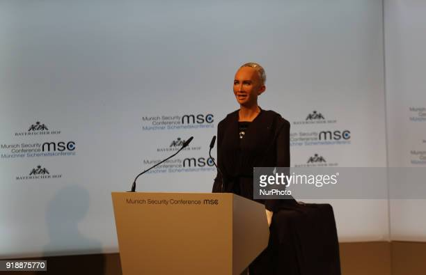 A robot talked to the people to symbolise artificial intelligence in Munich Germany on February 15 2018 Today the first panel of the Munich Security...