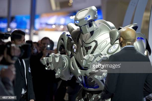 Robot 'Titan' of Cyberstein Robots Ltd is pictured at the Siemens stand at the Hannover Messe industrial trade fair on April 10 2014 in Hanover...