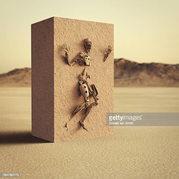 Robot trapped in dirt cube in desert