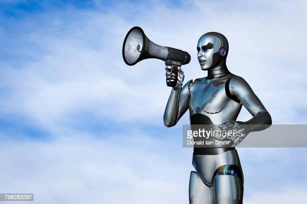Robot using megaphone