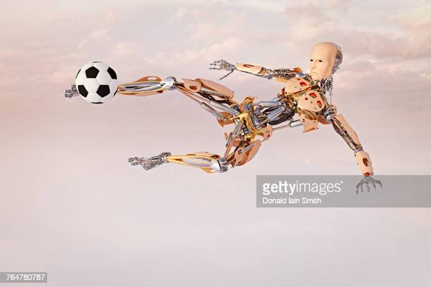 Robot volleying soccer ball in sky