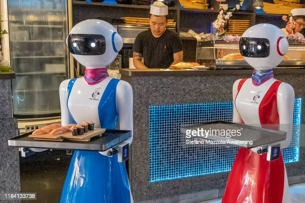 A robot waiter brings food to customers on July 25 2019 in Rapallo Italy The Gran Caffè Rapallo restaurant in Liguria is the first restaurant in...