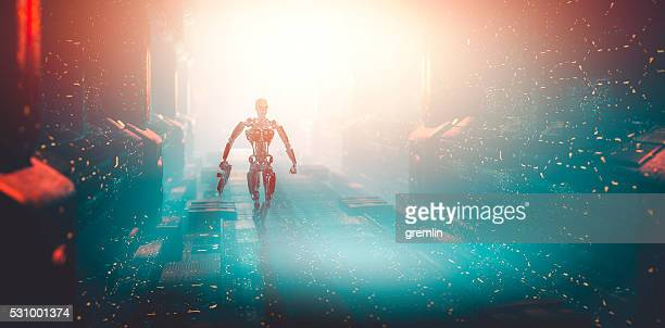 robot walking on the spaceship - space station stock photos and pictures