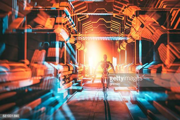 Roboter fuß auf das Raumschiff