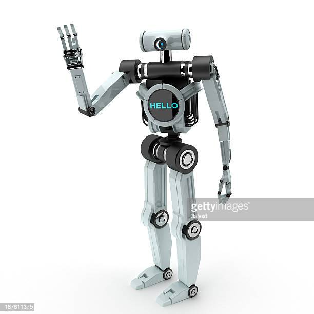 A robot waving his hand with the word hello on his body