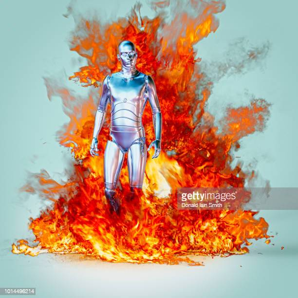 Robot with chrome body engulfed in flames