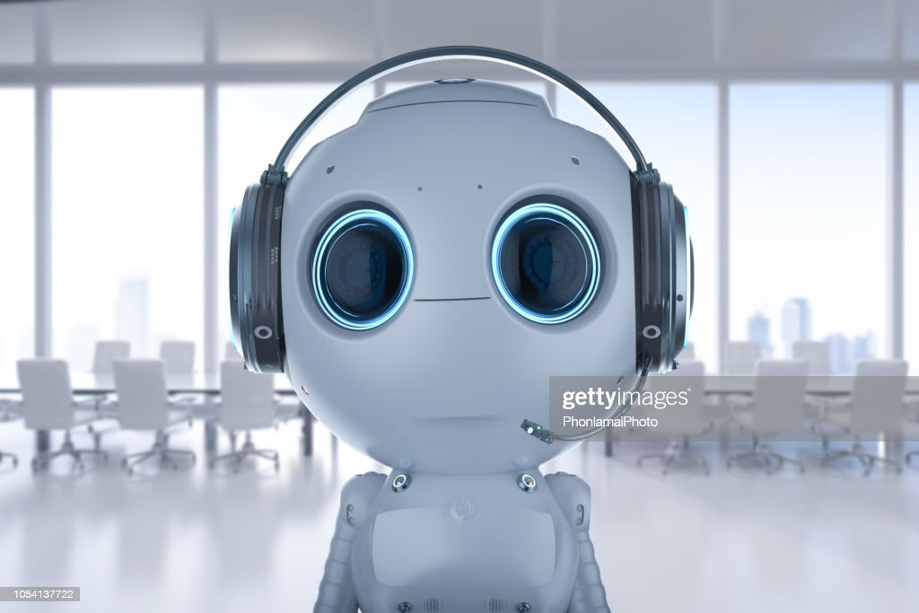 robot with headset : Stock Photo